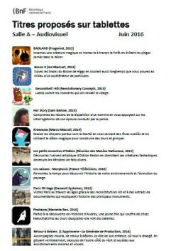 Applications on tablets salle A - List of titles [in French] (EN - PDF - 163.86 Ko)