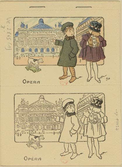 A travers Paris. Tome 1 : album de cartes postales à colorier. Dessins de H. Gray. Paris, 1920.